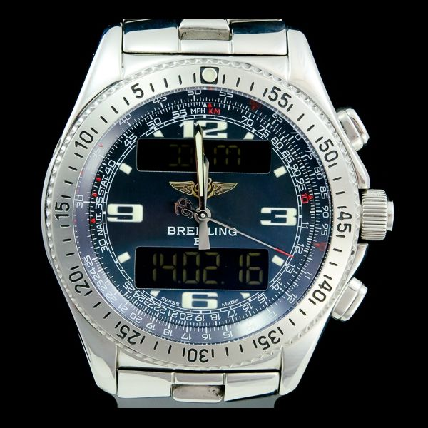 BREITLING-B-1 digital quartz 44mm A68362 chronograph. Avilible now at our site : http://www.joaillerie-royale.com/73-montre-occasion-breitling  Disponible immédiatement sur notre site http://www.joaillerie-royale.com/73-montre-occasion-breitling