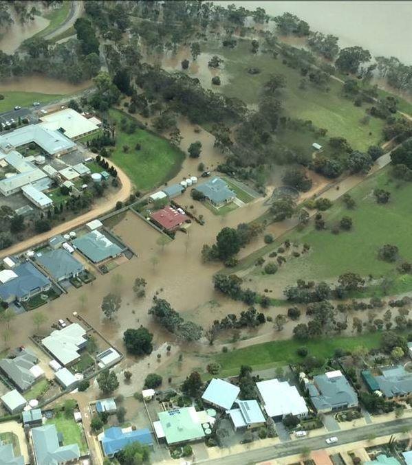 Floodwaters Balaklava. Hospital top L  corner