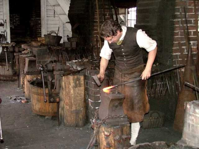 Blacksmith during colonial times blacksmith making nails for Craft in america forge