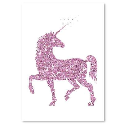 """East Urban Home Unicorn Graphic Art in Pink Glitter Size: 16"""" H x 12"""" W"""