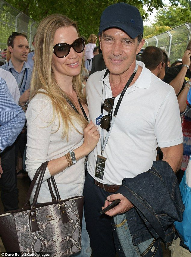 All smiles: Antonio Banderas cosied up with with his beautiful blonde girlfriend Nicole Kimpel as he led the celebrities at a Formula E race in London on Saturday