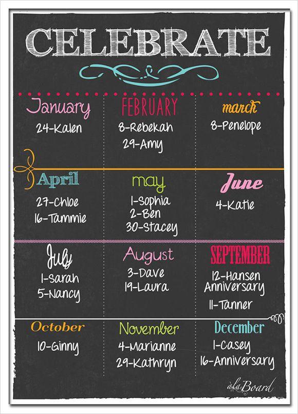 Yearly birthday calendar template