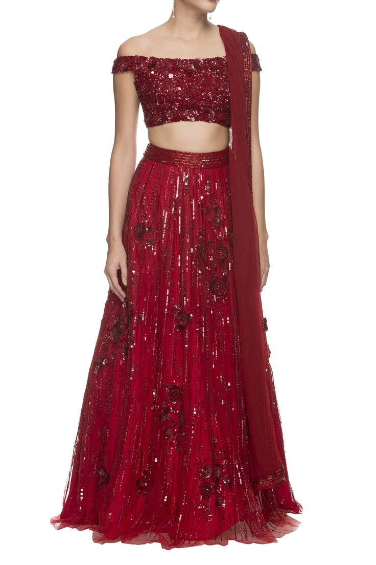 Shop Nadine Dhody - Deep cherry red shimmer lehenga set Latest Collection Available at Aza Fashions