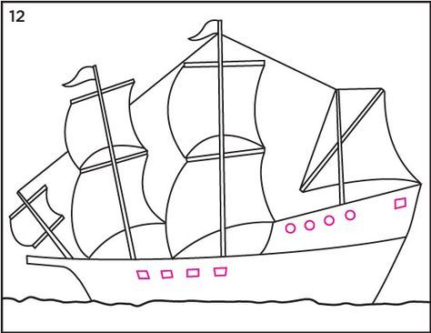 from Art Projects for Kids: how to draw Mayflower Ship step by step tutorial