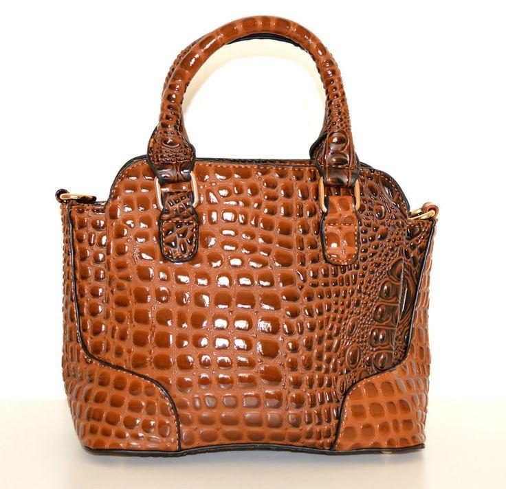 Borsa pelle marrone donna coccodrillo vernice lucida bauletto сумка sac bag 1100