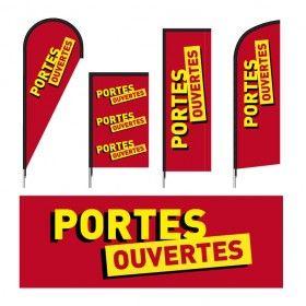 Drapeaux publicitaires imprimés modèle PORTES OUVERTES