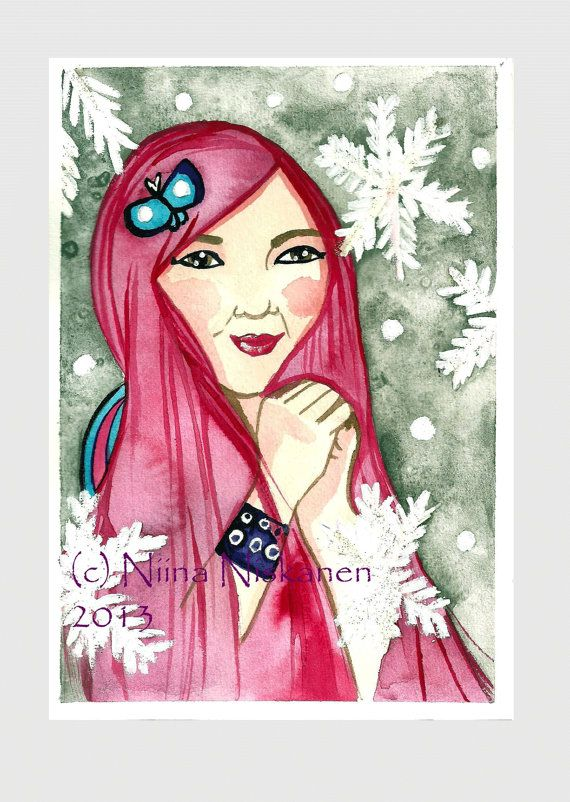 Pink Hair Day  Fashion Art  Beauty Illustration  by fairychamber, €38.00
