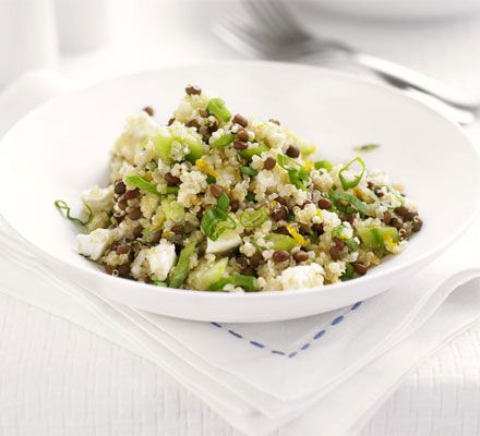 Quinoa, lentil & feta salad Quinoa, a protein-rich seed, makes a great substitute for rice or couscous  Go to MuscleandMotion.com to download the free version of the 3D Muscle Anatomy & Strength Training Video Program – uniquely designed for Students, Personal Trainers, Therapists, Athletes, and Teachers.