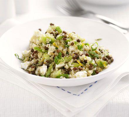Quinoa, lentil & feta salad. Delicious and only 286 kcals per serving  #amazinglyhealthy #vegetarian