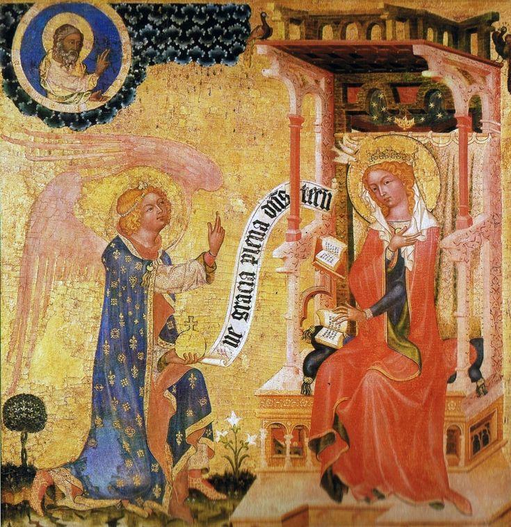 Zvěstování ~ Annunciation; Mistr Vyšebrodského oltáře,  Vyšebrodský oltář, před 1350, Čechy
