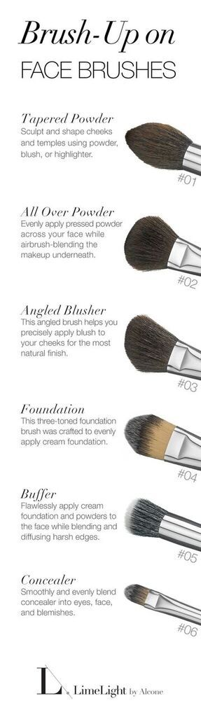 LimeLight by Alcone Signature Vegan Brushes - Each powder brush is designed to help achieve a specific look.  This guide can help you figure out the right brushes you need to perfect your makeup application.  The right tools with the right makeup can make a difference!