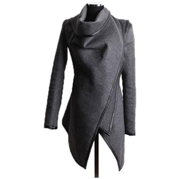 Women's Sunygal Parka Irregular Trench Coat Cardigan Outwear ($16) ❤ liked on Polyvore featuring outerwear, coats, grey, trench coats, grey parka, grey parka coat, gray coats and grey trench coat