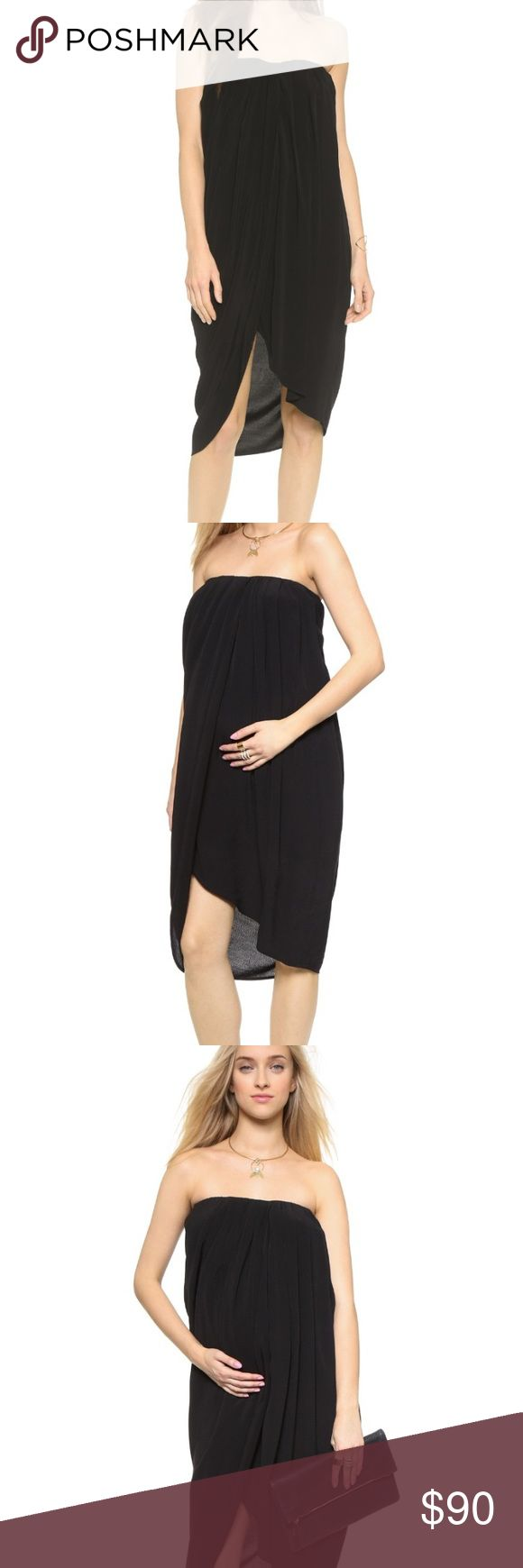 """HATCH """"PANAMA"""" MATERNITY DRESS A strapless and super stylish HATCH dress styled in voluminous crepe with a front slit. Perfect for a special night out or babymoon!  The dress is designed to grow with you through your pregnancy. Ruched, covered elastic neckline. Built-in shelf bra. Lined. 50% rayon/50% viscose. Measurements.  Length: 35in / 89cm Hatch Dresses High Low"""