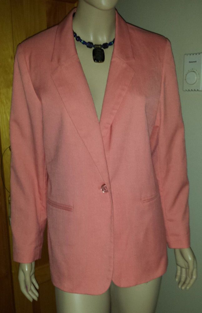 Requirements Petite lined pink/peach blazer size 16P #Requirements #Blazer