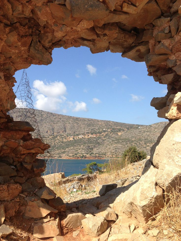 The view from Spinalonga, officially known as Kalydon, located in the Gulf of Elounda in north-eastern Crete, in Lasithi, next to the town of Elounda.