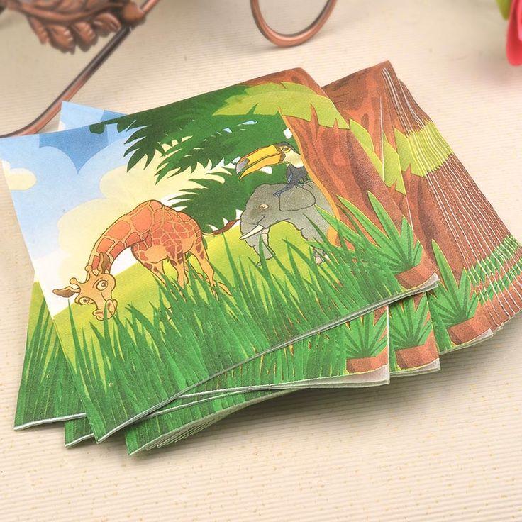 20ピースジャングルパーティーカラーナプキン紙100%バージン木材ティッシュ用キッズ誕生日パーティーの装飾
