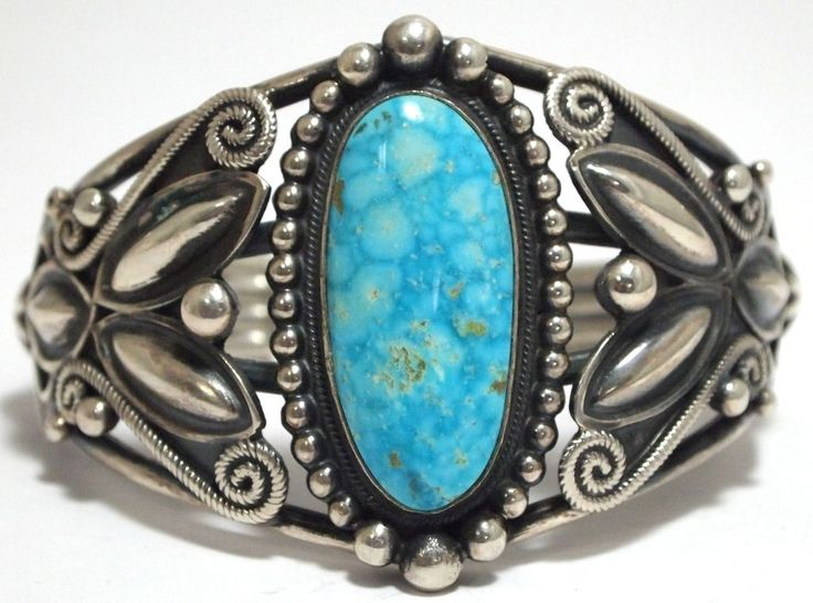 Old Pawn Navajo Lone Mountain Turquoise Sterling Silver Cuff Bracelet - R. Martinez