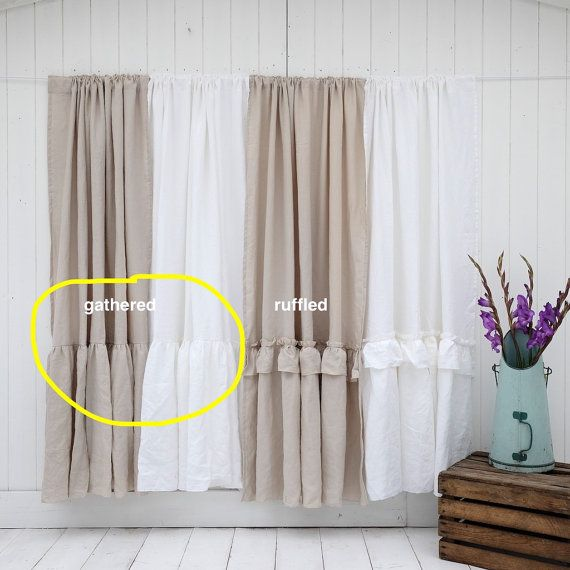 Welcome to Oscar & French as featured in Romantic Homes...  LINEN SHOWER CURTAIN - MADE TO ORDER at no extra charge! (up to our maximum size): ♥Maximum Size 39 inches wide, length 98 inches ♥3 Styles - Ruffled border, gathered or plain ♥Pocket rod top or eyelets ♥100% stonewashed linen ♥Fully washable ♥Available in 4 colours (white, dove beige, pale pink or natural) ♥Last picture shows other matching items (This is just the curtain - waterproof Insert not supplied but these are cheap enou...