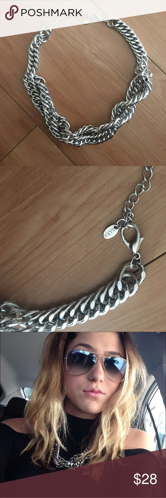 Zara Chunky Chain Necklace Super cute Statement Necklace. Chunky silver chain! Condition is like new! Zara Jewelry Necklaces