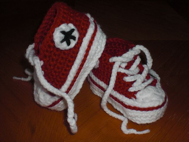 """Possible baby gift.  My grandmother ( or my aunt .  Not quite sure) actually crocheted me some baby """"chucks"""" when I was born:)"""
