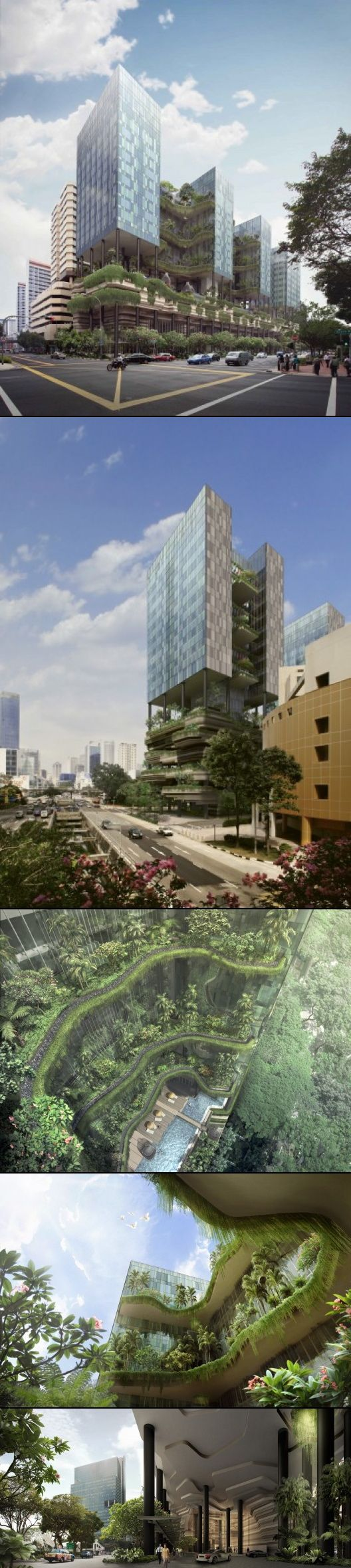 PARKROYAL in Singapore - A total of 15,000m2 of skygardens, reflecting pools, waterfalls, planter terraces & green walls were designed; this is double the site area or equivalent to the footprint of the adjacent Hong Lim Park.