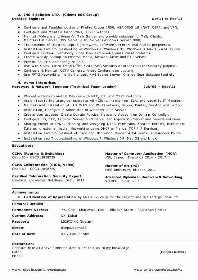Networking Engineer Resume Sample Beautiful Resume For Network Engineer L2 Network Admin Team Leader Network Engineer Resume Sample Resume