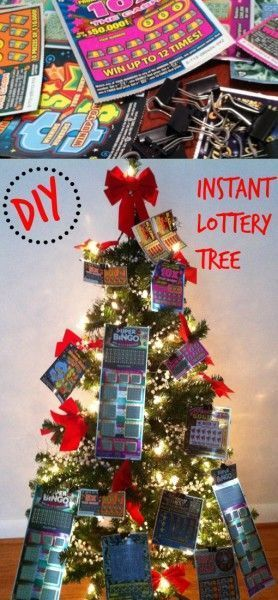 Easy DIY for Christmas or anytime of the year! The Lottery Ticket Tree is a gift for any occasion (and a great last minute Christmas gift!)