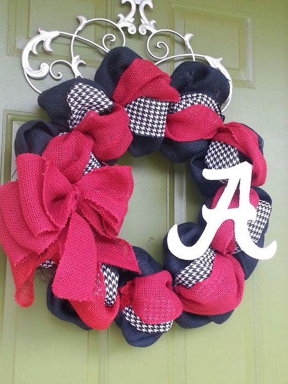 Alabama Crimson Tide Burlap Wreath by CurlyQsCreation on Etsy, $65.00