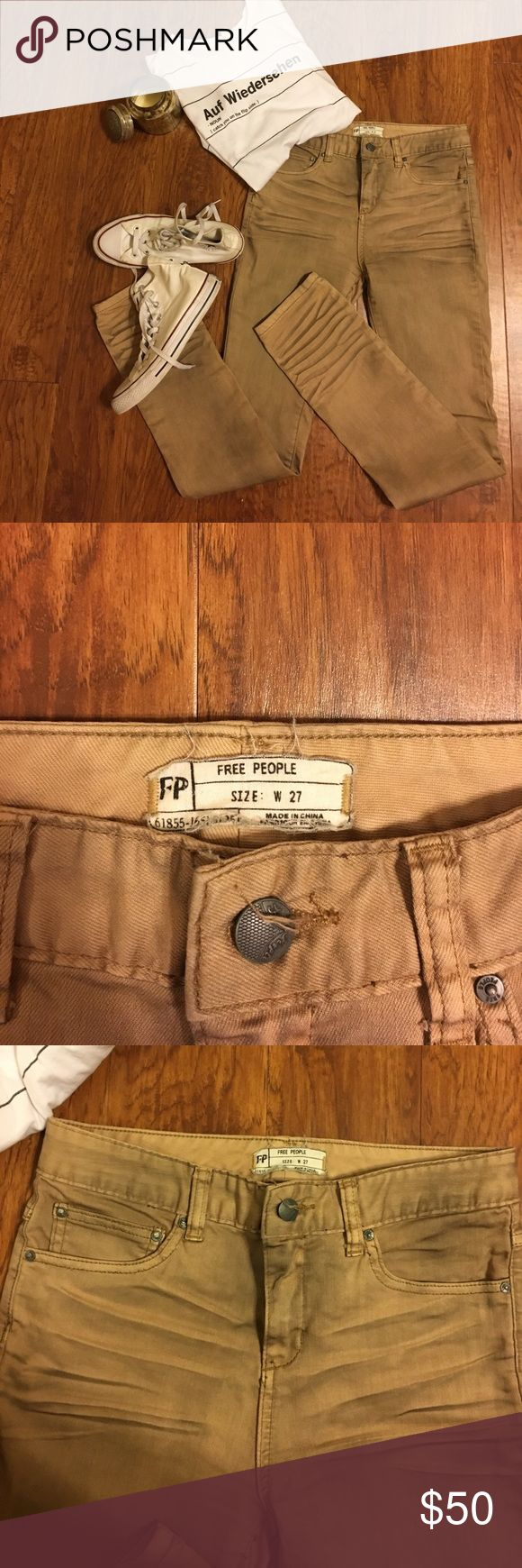 """Free people """"dirty"""" kaki jeans Super stylish and in perfect condition! Free People Pants Skinny"""