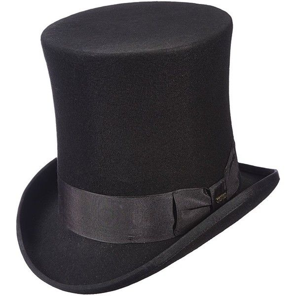 Scala Classico Men's Victorian Tall Top Hat, Black, L ($95) ❤ liked on Polyvore featuring men's fashion, men's accessories, men's hats, mens hats fedora, mens fedora hats, mens fedora and mens hats
