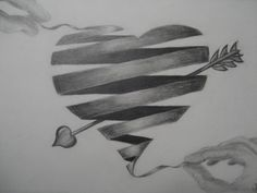 Heart Ribbon - 10  Cool Heart Drawings for Inspiration, http://hative.com/heart-drawings/,