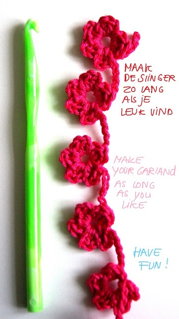 Easy flower garland (variation) tutorial by ingthings. - Page is in Dutch, but instructions are in the photos in Dutch & English