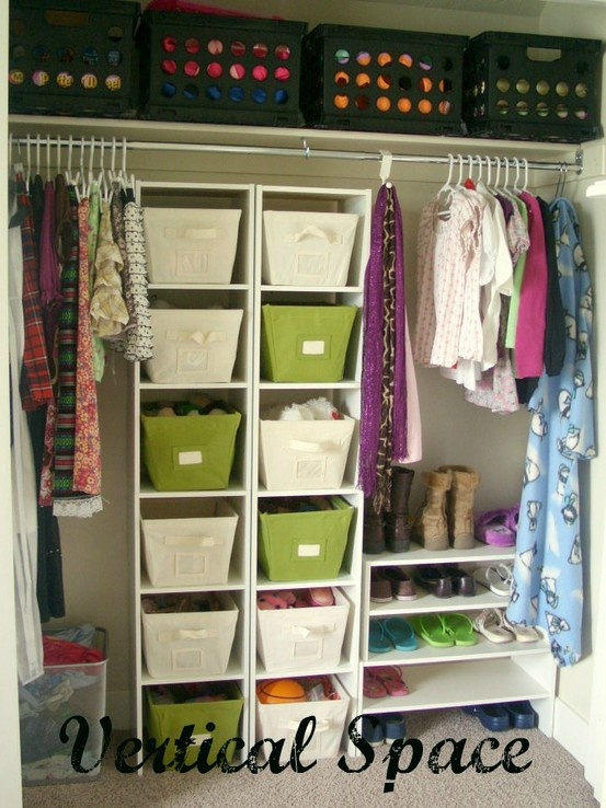 Organizing kids rooms Organizing with kids.  Low bins for easy access for your kids to get their clothes.  High bins for storage.   Color makes all the difference.