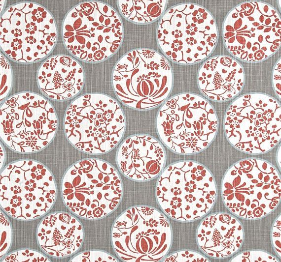 Designer Gray & Soft Red Fabric by the Yard Cotton Home Decor Fabric Contemporary Drapery Curtain or Upholstery Fabric Woodland Asian C422