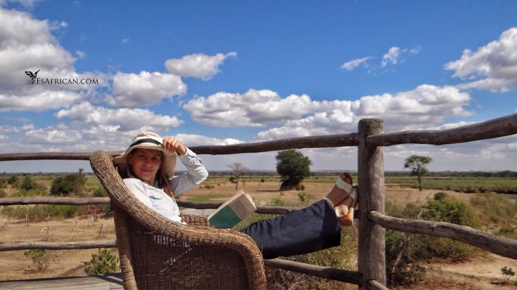 #Relaxing and #Reading AND #WatchingWildlife on #Safari in #Malawi. Are you here to see wildlife...or relax? Let's think about priorities. #BushmansBaobabs #Liwonde