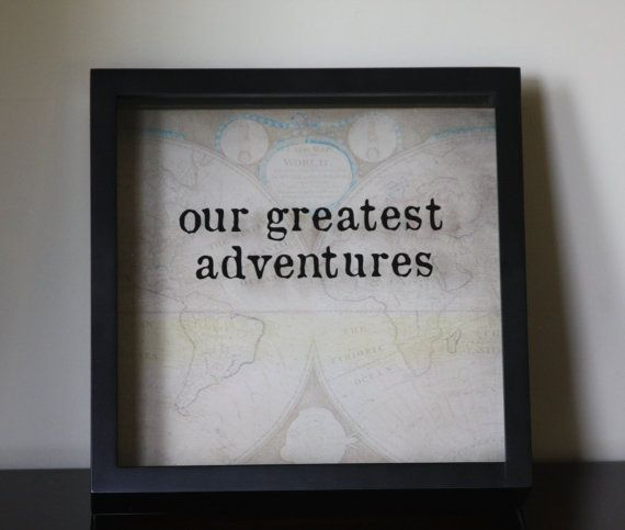 """Vintage Version OUR GREATEST ADVENTURES Shadow Box 12x12"""", Made to Order, Ticket Stub, Gift for Traveler, World Traveler, Ticket Shadow Box"""
