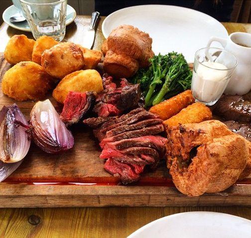 Sunday Roast, London - Beef Roast, Roasted Potatoes, Yorkshire Pudding, Veggies, and Gravy