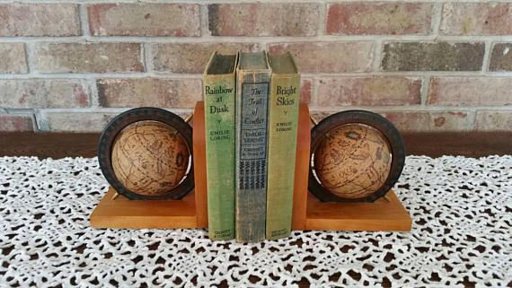 Vintage Bookends-World Globe Bookends-Wooden Bookends-Globe