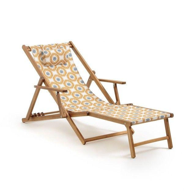 Chaise Longue Acacia Et Toile Amezza Taille Taille Unique En