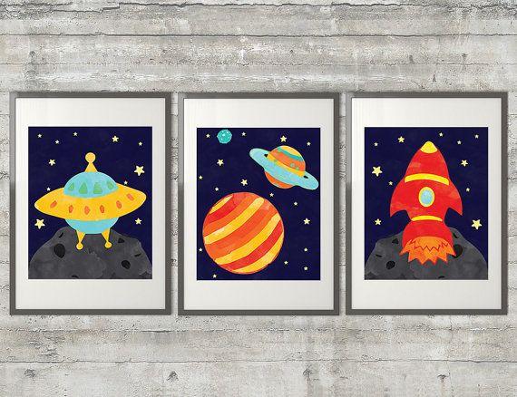 Outer Space Nursery Art  Set of 3  8x10 by PrintsAndPrintables, $42.00
