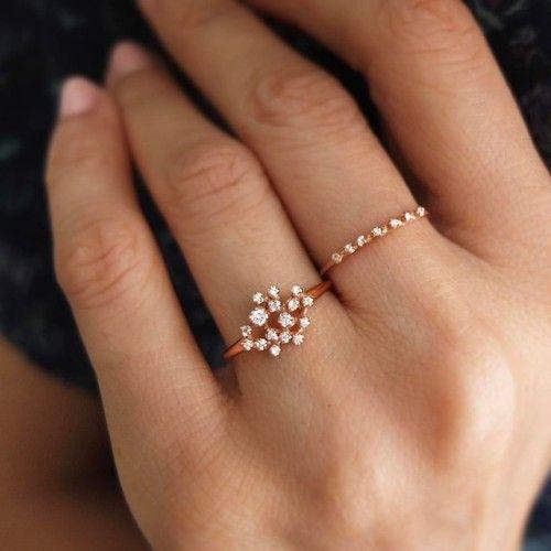 14K Rose Gold Diamond Cluster Ring (R052) & Seven Diamond Ring (R016)✨ #madeinnyc #handmade #jewelry #rings #diamondring #japanesedesigner #weddingband #engagementring #bridal #rosegold