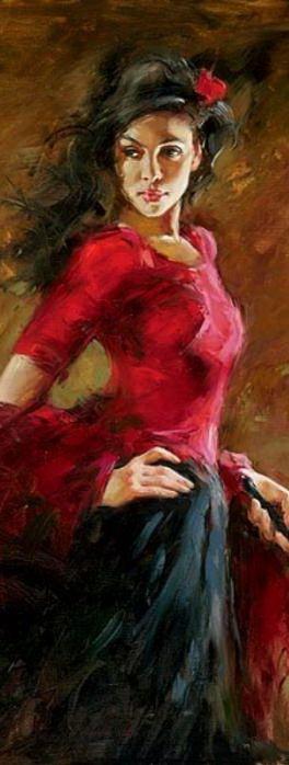 """""""The Fan Dancer,"""" [detail] --by Andrew Atroshenko (b.1965, Russian)"""