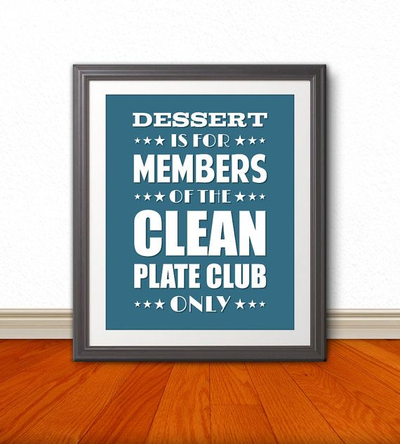 Clean Plate Club Typography Wall Art Kitchen By BentonParkPrints