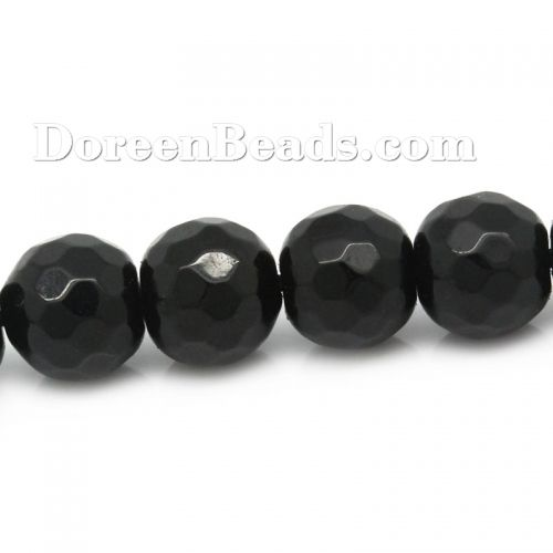 Worldwide Free Shipping (Grade B) Agate (Dyed) Loose Beads Round Black Faceted Aboout 6mm(2/8) Dia, Hole: Approx 1mm, 36cm(14 1/8), 1 Strand (Approx 60 PCs/Strand) [B20597] at incredible low price– DoreenBeads.com
