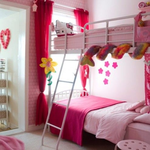 Bedroom, Girly Bunk Bed Decoration For Urban Twins Girls Bedroom Ideas ~ Lovely Tween Girl's Bedroom Ideas for Colorful Teenage Life