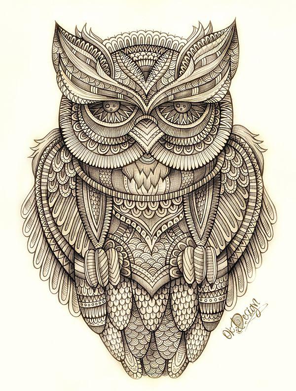 Titel: Year: Artist: Balabolka, via Behance  Eintou: Geweldige details, mooie symmetrie en de grijze gradaties sieren de uil