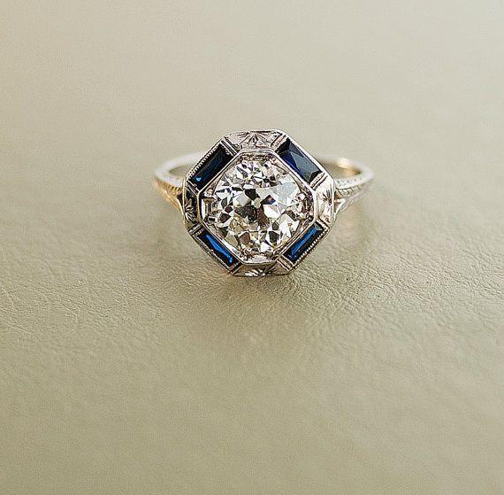 Antique bague de fiançailles - or blanc 18 carats, avec 2 ct diamant de taille européenne