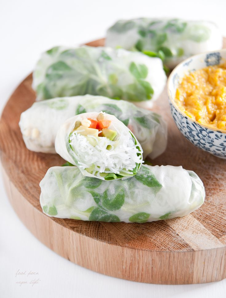 Spring rolls with avocado and mango chutney