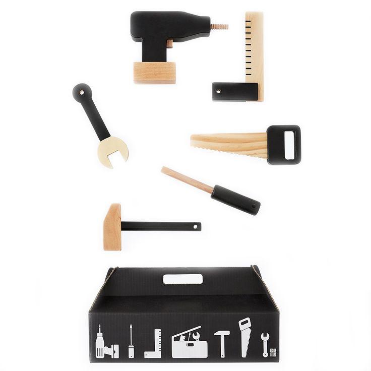 Hölzerner Werkzeugkasten – Set von 6
