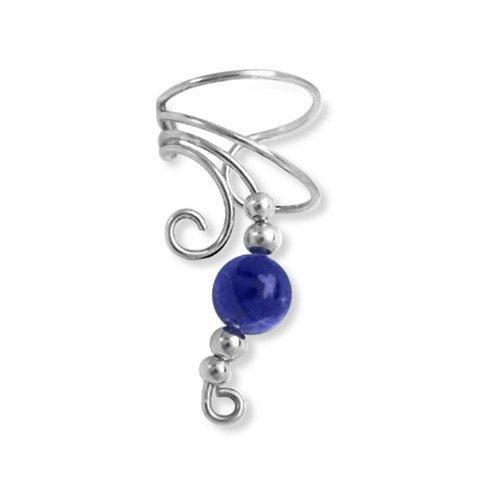 Bling Jewelry Ear Cuff Left Ear Lapis Gemstone Bead Long Wave Sterling Silver
